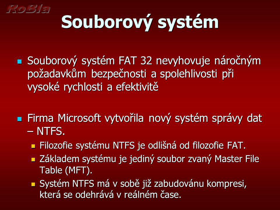 Souborový systém Souborový systém FAT 32 nevyhovuje náročným požadavkům bezpečnosti a spolehlivosti při vysoké rychlosti a efektivitě.