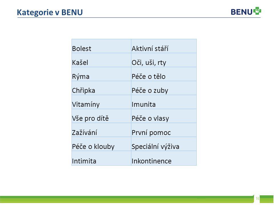 Kategorie v BENU Bolest Aktivní stáří Kašel Oči, uši, rty Rýma