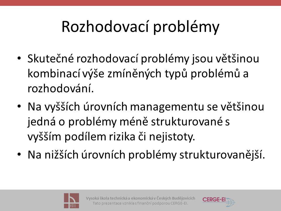 Rozhodovací problémy Skutečné rozhodovací problémy jsou většinou kombinací výše zmíněných typů problémů a rozhodování.