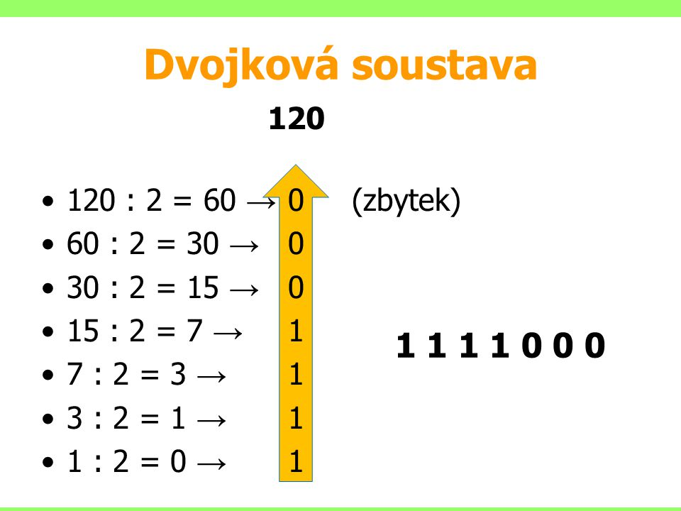 Dvojková soustava 1 1 1 1 0 0 0 120 120 : 2 = 60 → 0 (zbytek)