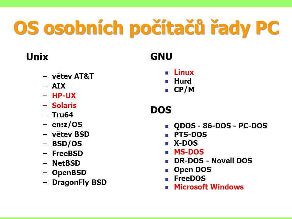 OS osobních počítačů řady PC