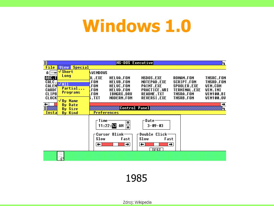 Windows 1.0 1985 Zdroj: Wikipedia