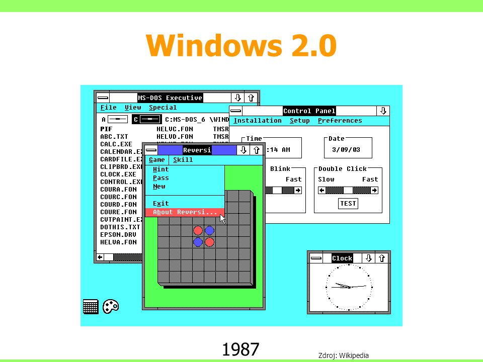 Windows 2.0 1987 Zdroj: Wikipedia
