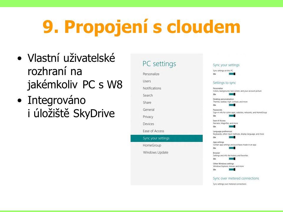 9. Propojení s cloudem Vlastní uživatelské rozhraní na jakémkoliv PC s W8.