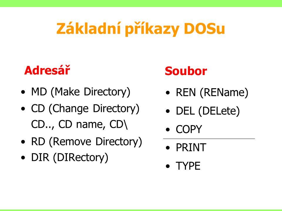 Základní příkazy DOSu Adresář Soubor MD (Make Directory) REN (REName)