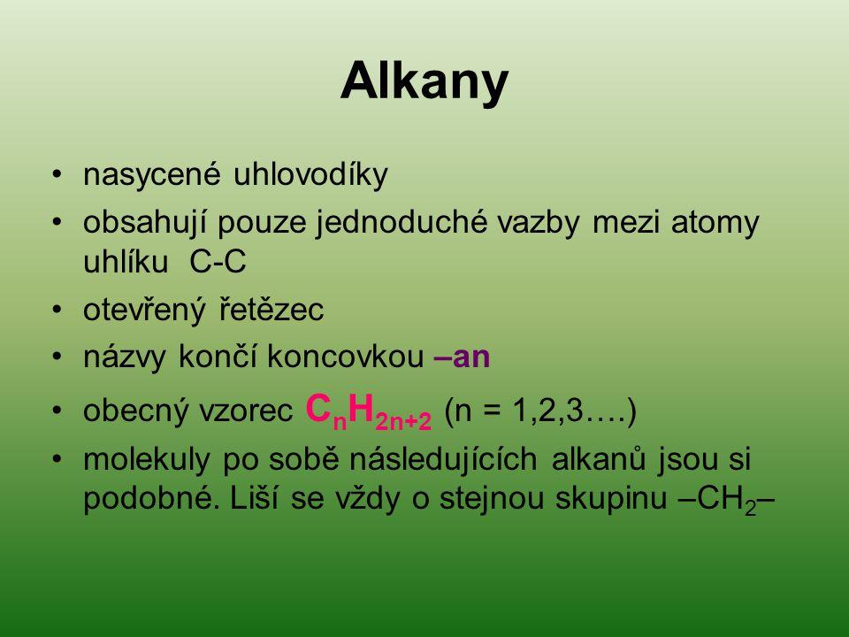 Alkany nasycené uhlovodíky