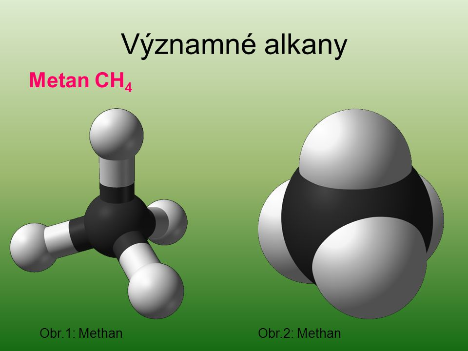 Významné alkany Metan CH4 Obr.1: Methan Obr.2: Methan
