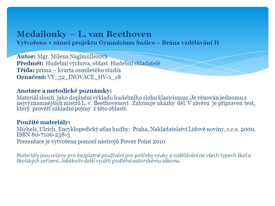 Medailonky – L. van Beethoven