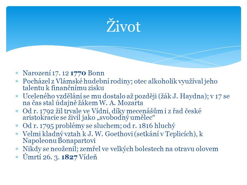Život Narození 17. 12 1770 Bonn. Pocházel z Vlámské hudební rodiny; otec alkoholik využíval jeho talentu k finančnímu zisku.