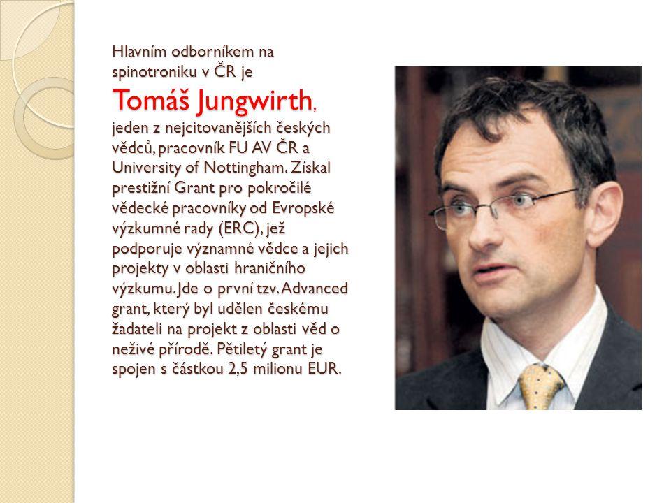 Hlavním odborníkem na spinotroniku v ČR je Tomáš Jungwirth, jeden z nejcitovanějších českých vědců, pracovník FU AV ČR a University of Nottingham.