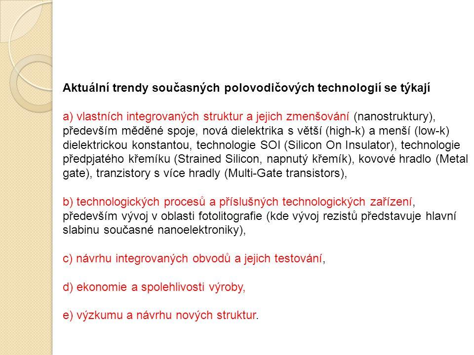 Aktuální trendy současných polovodičových technologií se týkají