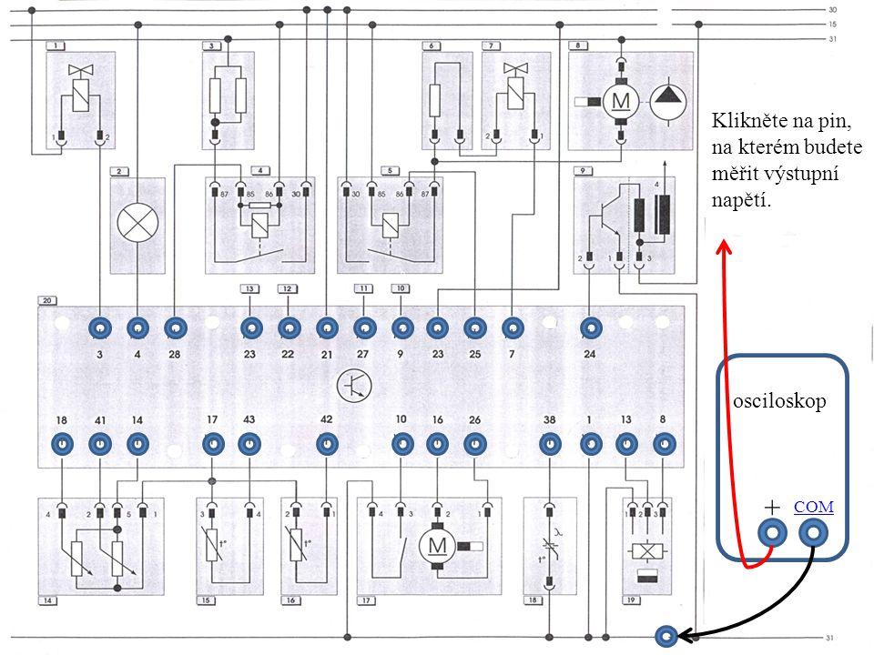 + Klikněte na pin, na kterém budete měřit výstupní napětí. osciloskop