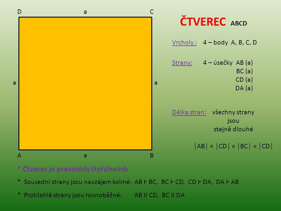 ČTVEREC ABCD * Čtverec je pravoúhlý čtyřúhelník D a C Vrcholy :