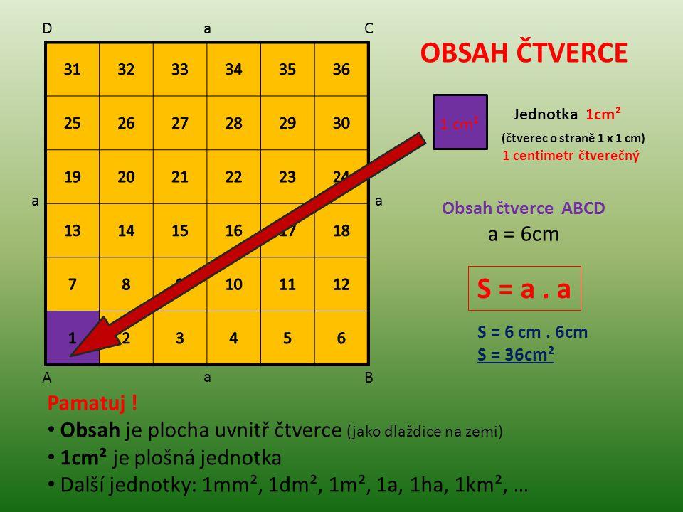 OBSAH ČTVERCE S = a . a a = 6cm Pamatuj !
