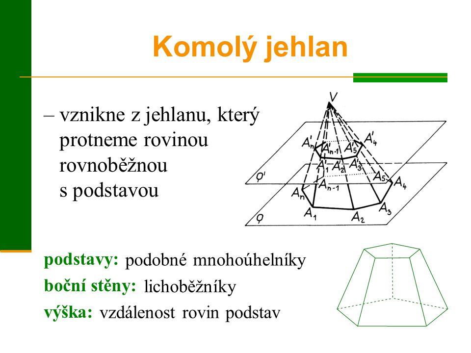 Komolý jehlan – vznikne z jehlanu, který protneme rovinou rovnoběžnou s podstavou. podstavy: