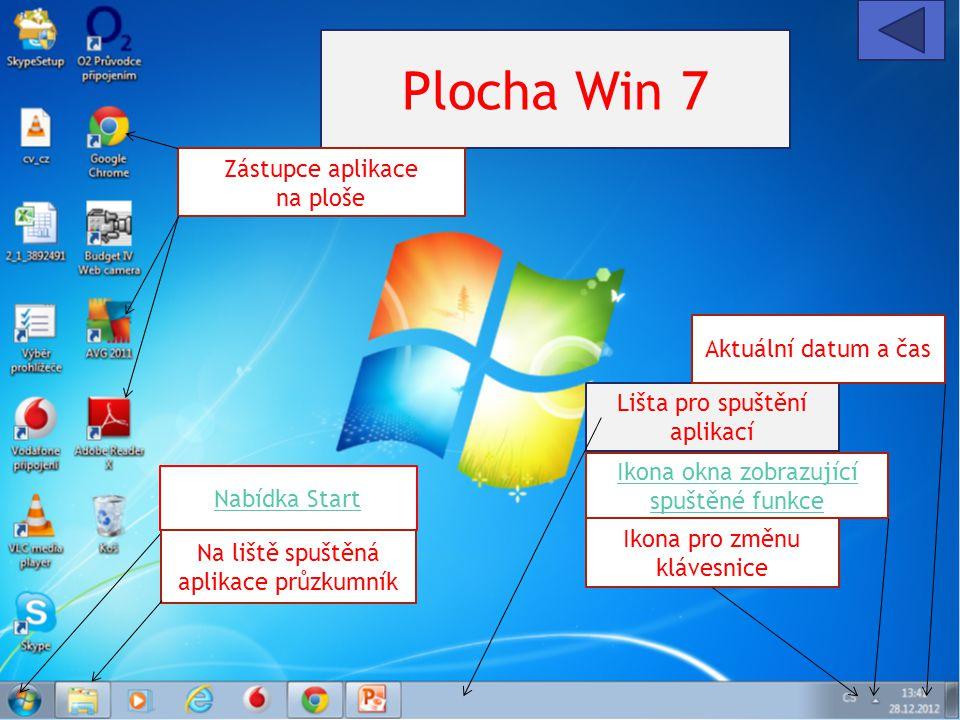 Plocha Win 7 Zástupce aplikace na ploše Aktuální datum a čas