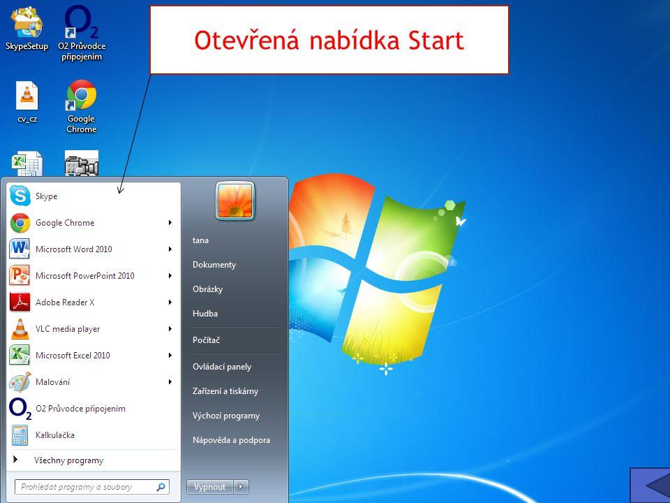 Otevřená nabídka Start