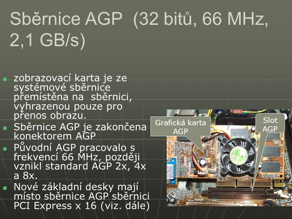 Sběrnice AGP (32 bitů, 66 MHz, 2,1 GB/s)