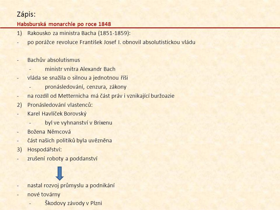 Zápis: Habsburská monarchie po roce 1848
