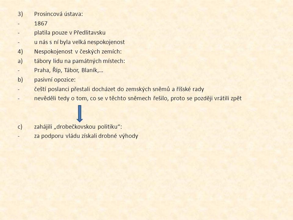Prosincová ústava: 1867. platila pouze v Předlitavsku. u nás s ní byla velká nespokojenost. Nespokojenost v českých zemích: