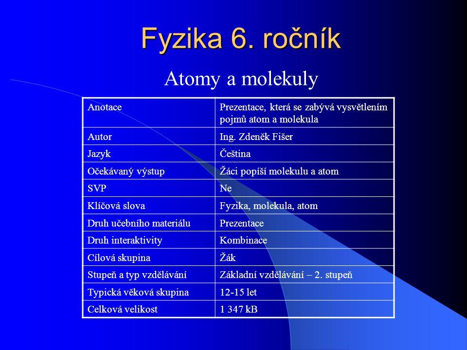 Fyzika 6. ročník Atomy a molekuly Anotace