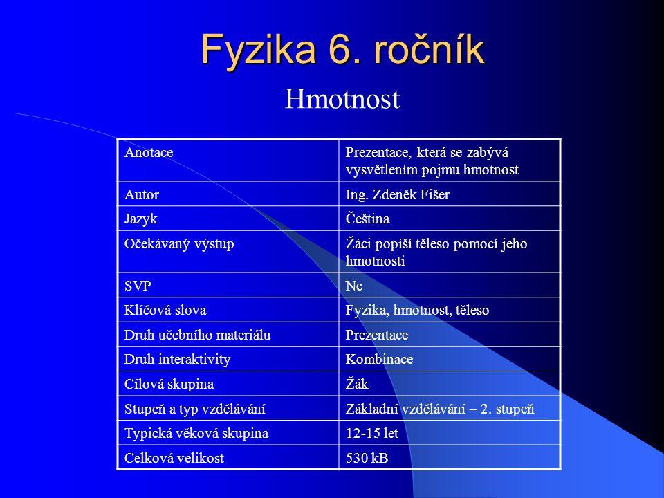 Fyzika 6. ročník Hmotnost Anotace