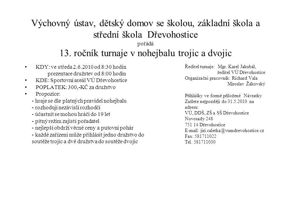 Výchovný ústav, dětský domov se školou, základní škola a střední škola Dřevohostice pořádá 13. ročník turnaje v nohejbalu trojic a dvojic
