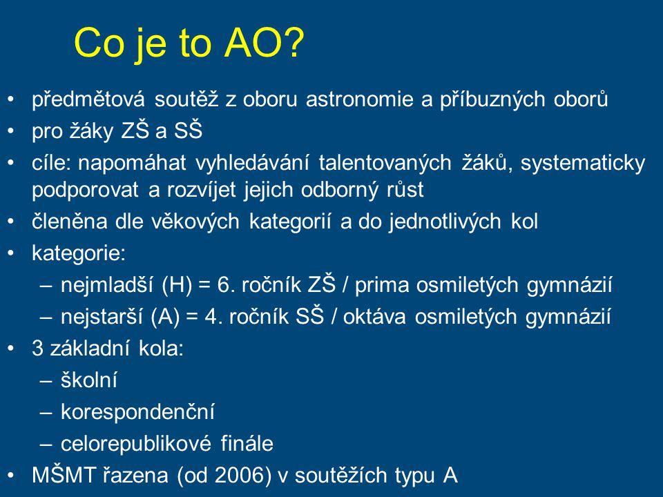 Co je to AO předmětová soutěž z oboru astronomie a příbuzných oborů