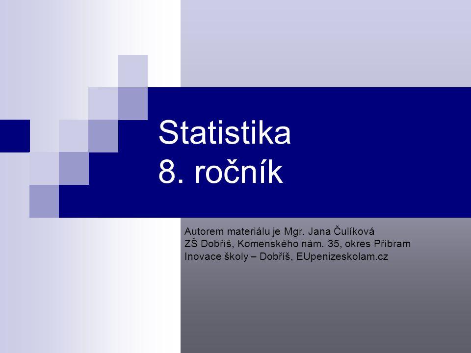 Statistika 8. ročník Autorem materiálu je Mgr. Jana Čulíková
