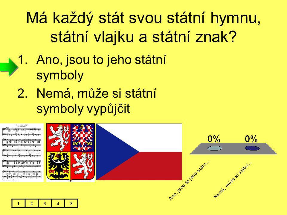 Má každý stát svou státní hymnu, státní vlajku a státní znak