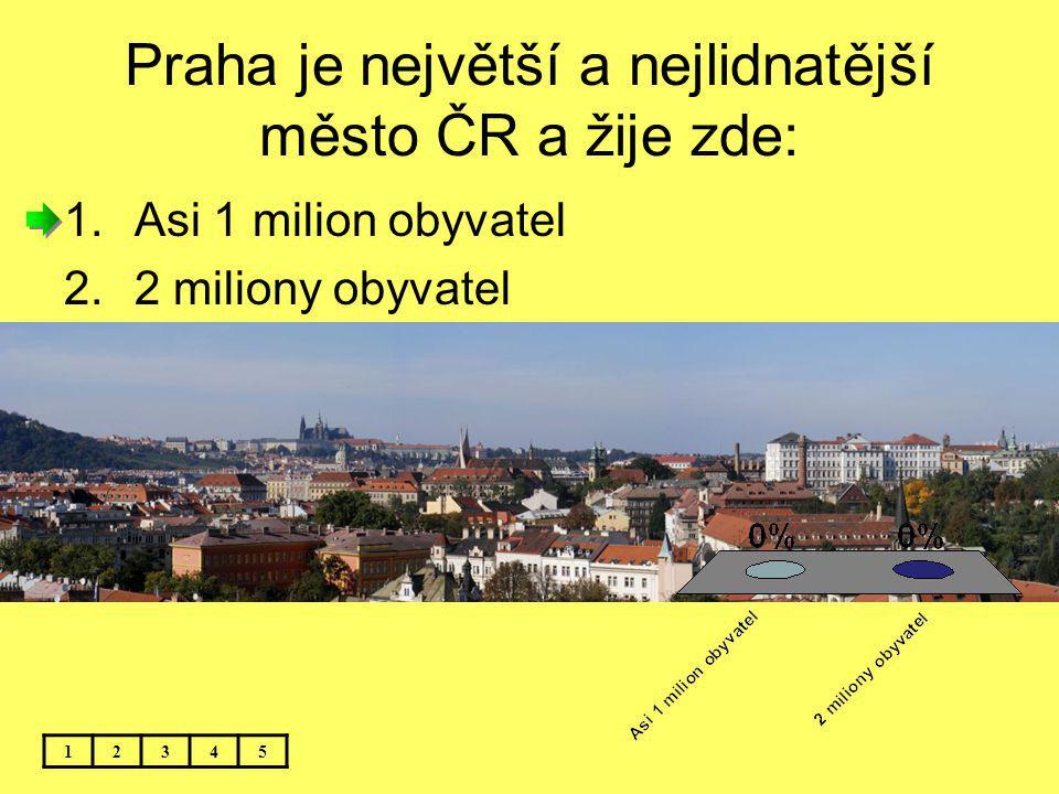 Praha je největší a nejlidnatější město ČR a žije zde:
