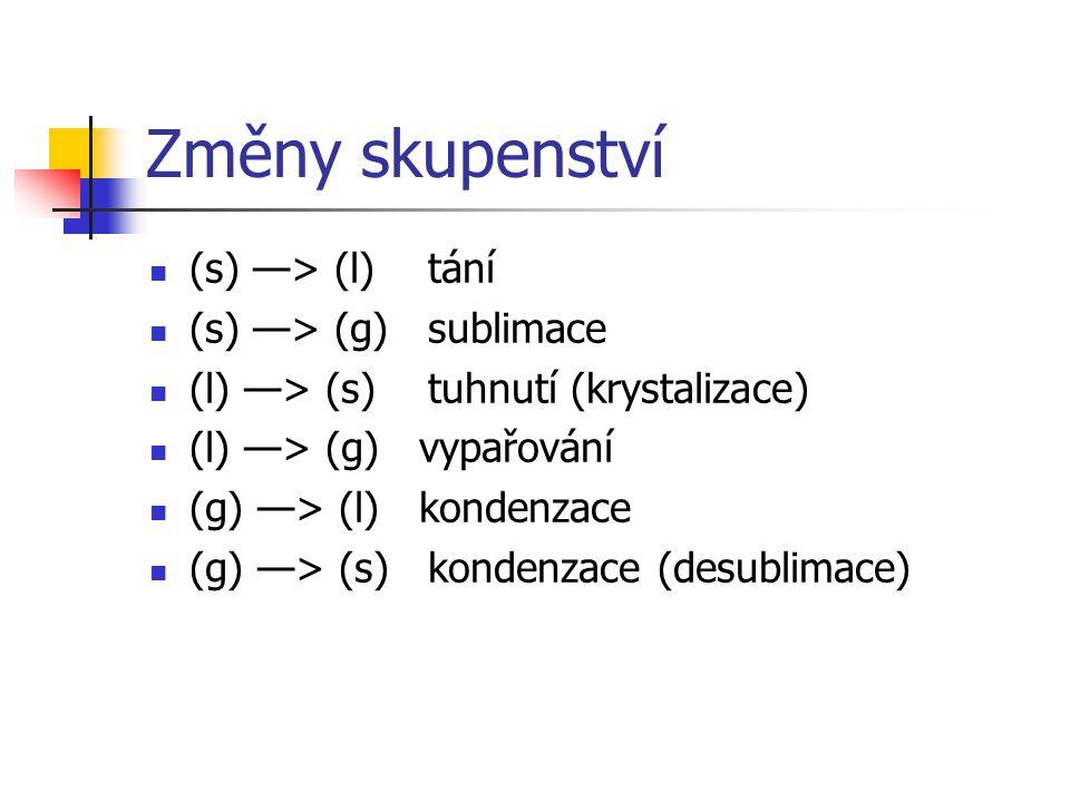 Změny skupenství (s) —> (l) tání (s) —> (g) sublimace