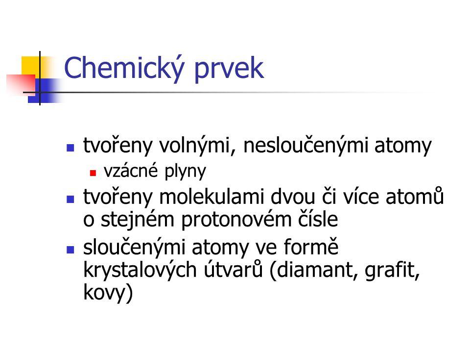 Chemický prvek tvořeny volnými, nesloučenými atomy
