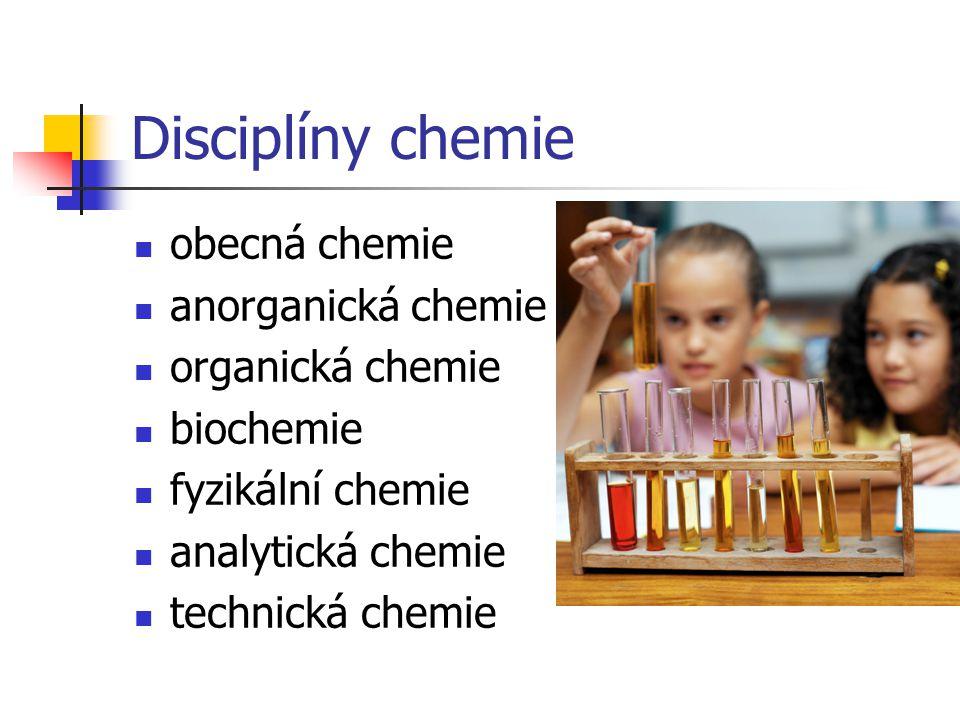 Disciplíny chemie obecná chemie anorganická chemie organická chemie