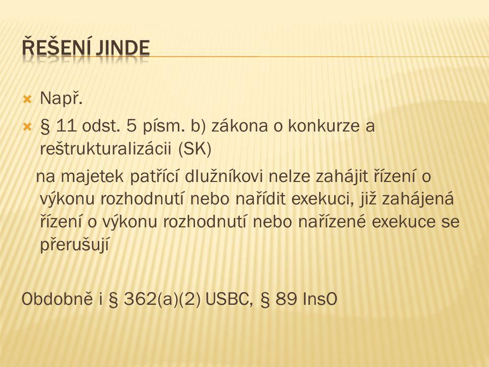 Řešení jinde Např. § 11 odst. 5 písm. b) zákona o konkurze a reštrukturalizácii (SK)