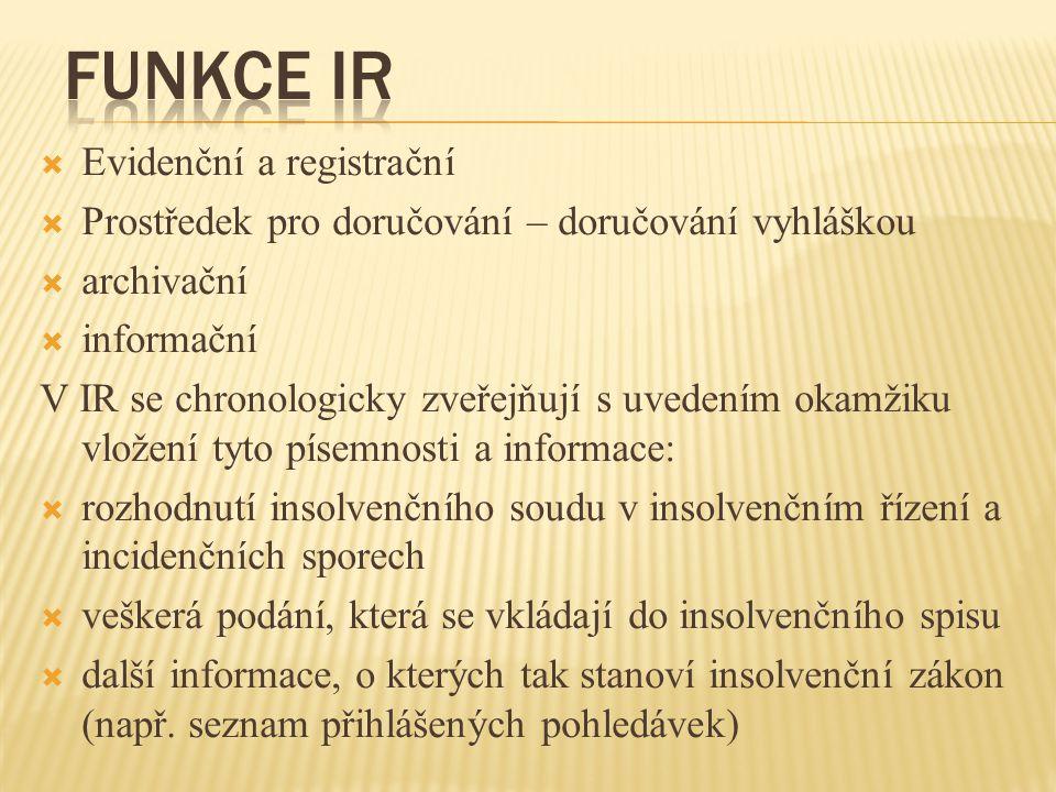 Funkce IR Evidenční a registrační