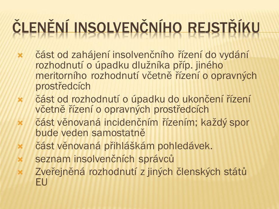 Členění insolvenčního rejstříku