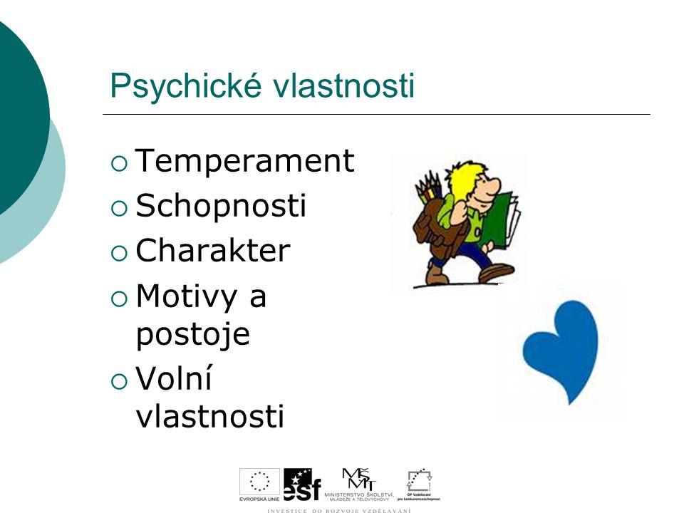 Psychické vlastnosti Temperament Schopnosti Charakter Motivy a postoje