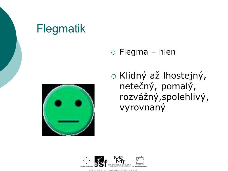 Flegmatik Flegma – hlen Klidný až lhostejný, netečný, pomalý, rozvážný,spolehlivý, vyrovnaný