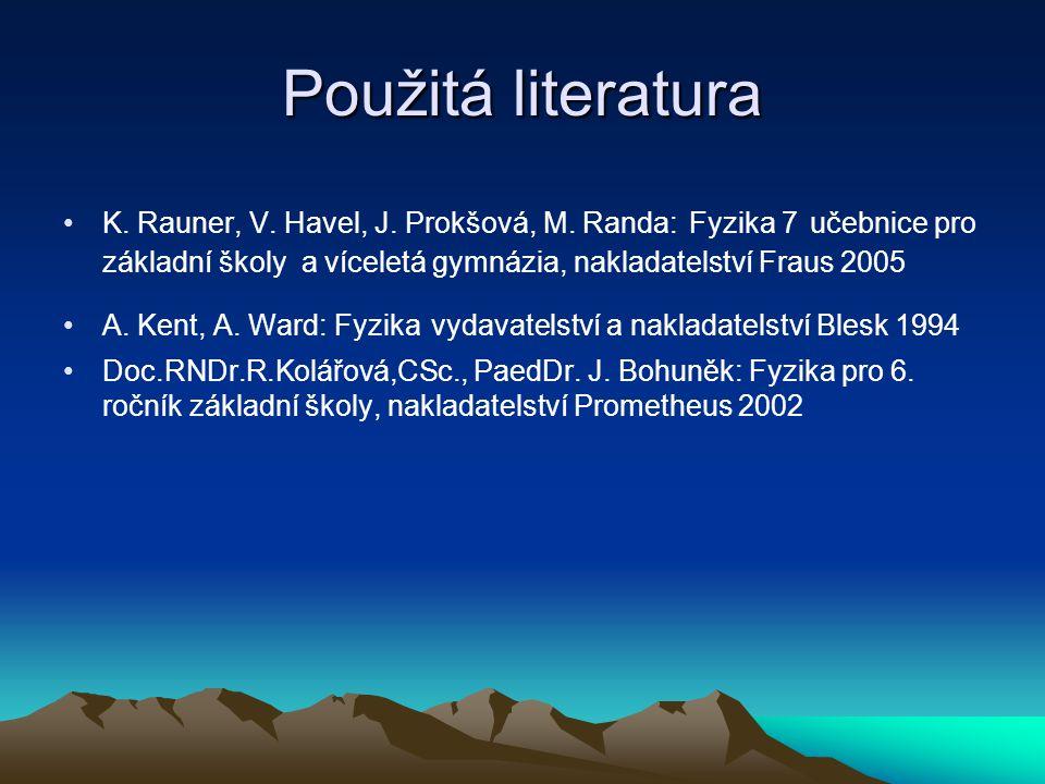 Použitá literatura K. Rauner, V. Havel, J. Prokšová, M. Randa: Fyzika 7 učebnice pro základní školy a víceletá gymnázia, nakladatelství Fraus 2005.