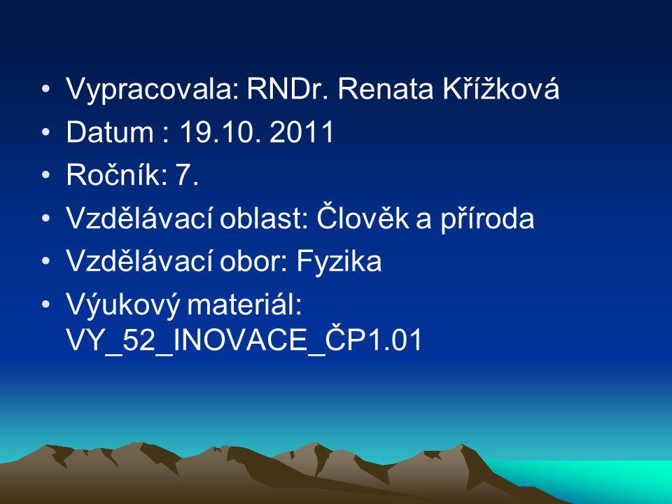 Vypracovala: RNDr. Renata Křížková