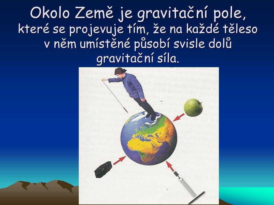 Okolo Země je gravitační pole, které se projevuje tím, že na každé těleso v něm umístěné působí svisle dolů gravitační síla.