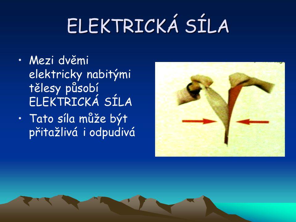 ELEKTRICKÁ SÍLA Mezi dvěmi elektricky nabitými tělesy působí ELEKTRICKÁ SÍLA.