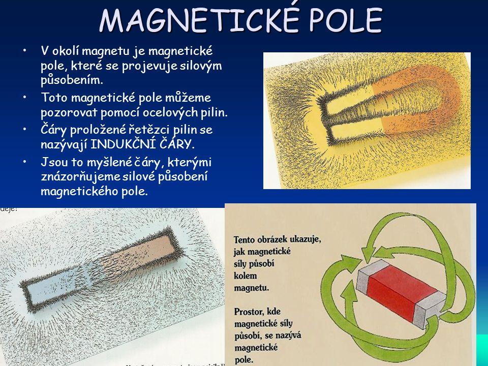 MAGNETICKÉ POLE V okolí magnetu je magnetické pole, které se projevuje silovým působením.