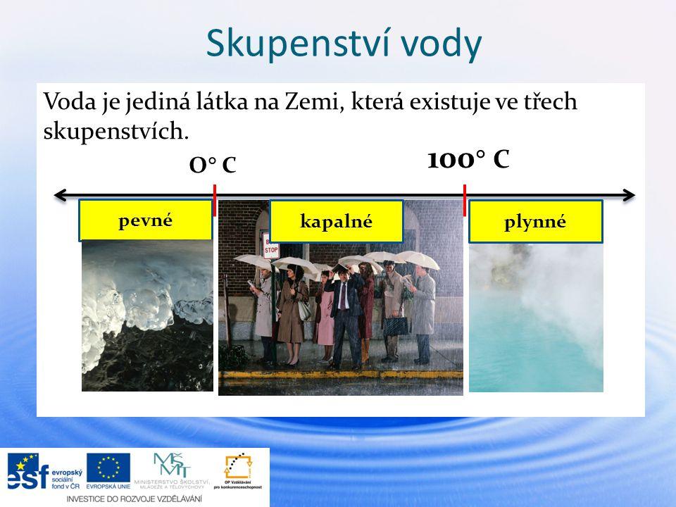 Skupenství vody Voda je jediná látka na Zemi, která existuje ve třech skupenstvích. 100 C. O C.