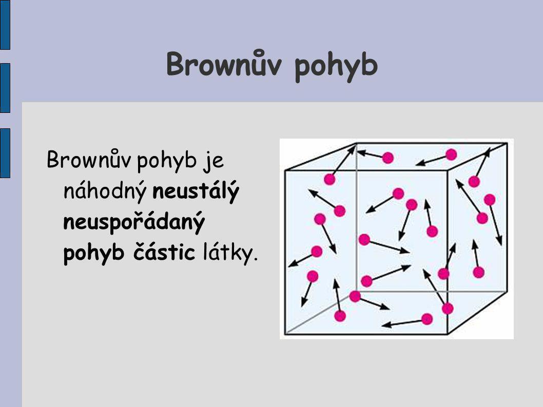Brownův pohyb Brownův pohyb je náhodný neustálý neuspořádaný pohyb částic látky.