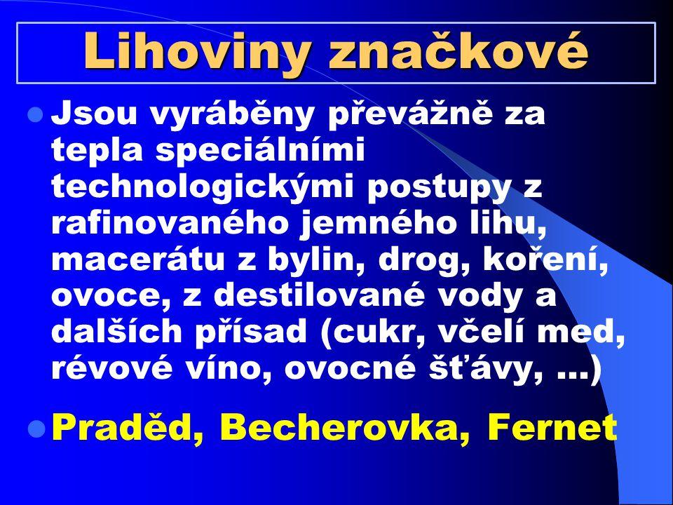 Lihoviny značkové Praděd, Becherovka, Fernet