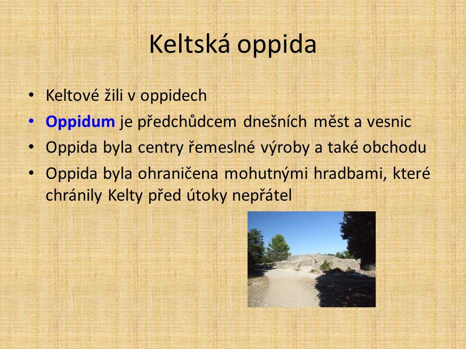 Keltská oppida Keltové žili v oppidech