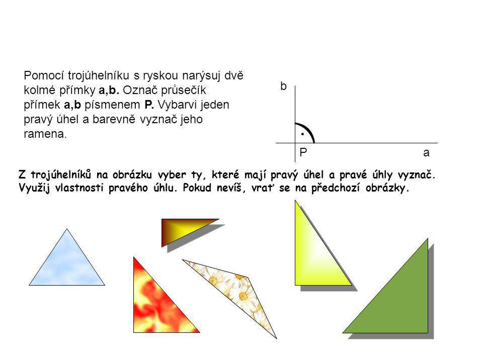 Pomocí trojúhelníku s ryskou narýsuj dvě kolmé přímky a,b