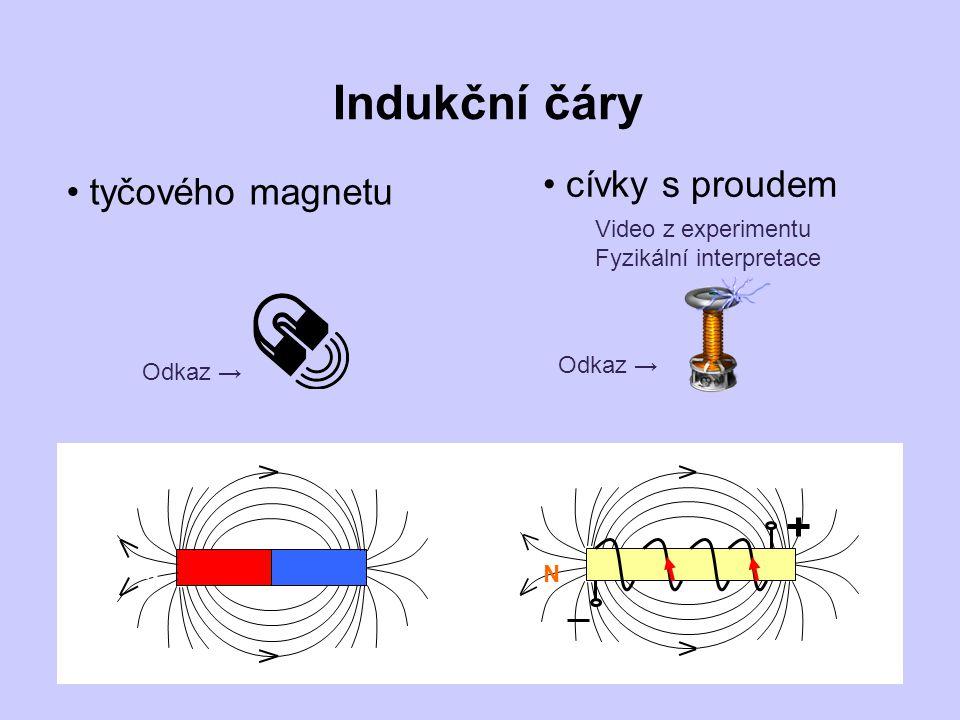 Indukční čáry cívky s proudem tyčového magnetu Video z experimentu